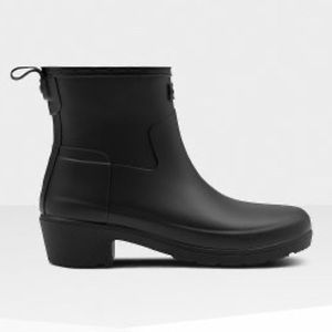 HUNTER Refined Slim Fit Low Heel Black Ankle Boots